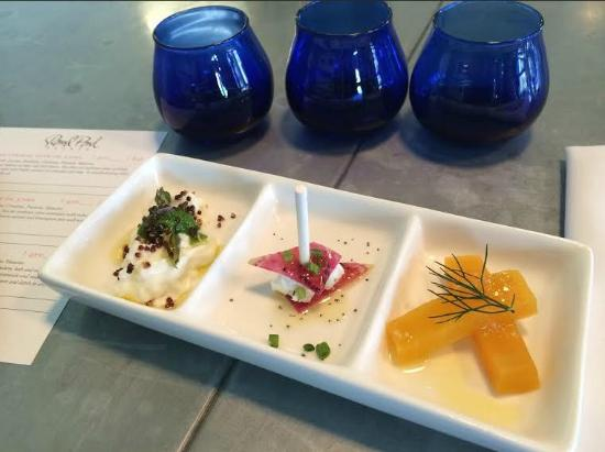 Rutherford, CA: Olive oil tastings with burrata, radish & goat cheese, beets