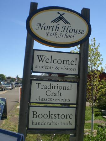 North House Folk School: Signage along Highway North 61
