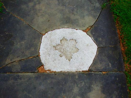 Port Allegany, Pensylwania: Maple Leaf stamp in sidewalk...nice touch!