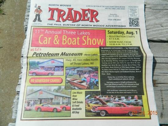 Three Lakes, วิสคอนซิน: Car and boat show advertisement