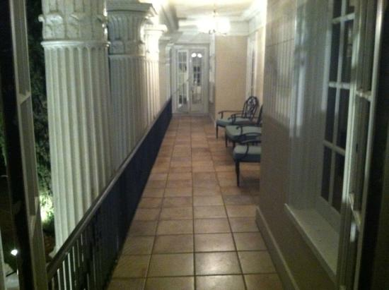 Grand Island Mansion: balcony view from inside room