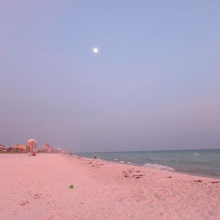 Lollye On the Beach: Almost a full moon.