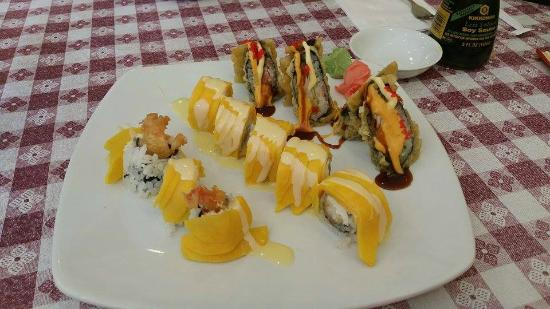 Triple delight beef chicken shrimp and veggies in brown for Aloha asian cuisine sushi