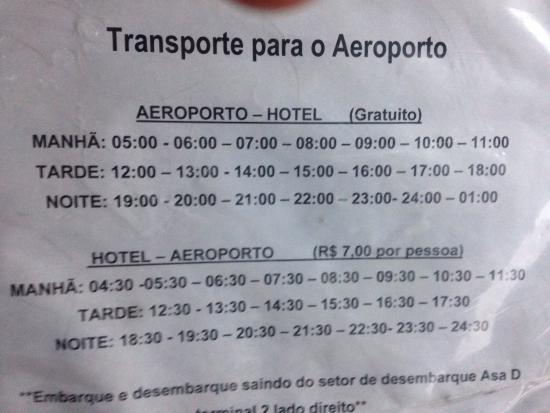 Ibis Guarulhos: O preço do transporte Hotel x Aeroporto foi atualizada. O valor agora é R$ 7,00. O trecho Aeropo