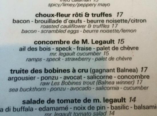 Chez Victoire, Bistro de Quartier : menu victoire