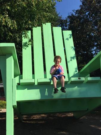 Large Green Chair: It's cute and fun and if your visiting it takes 5mins to find and do. Go check it out :)