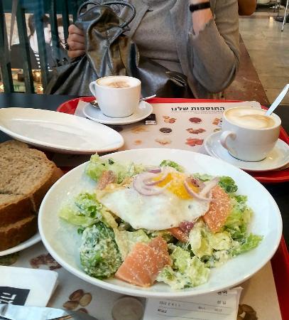 Cafe Aroma: Salad Salmon and Aroma Coffee