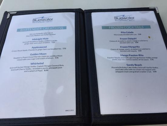 Bluewater Waterfront Grill Drink Menu