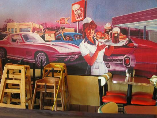Car Hop Locations: Burger, Fries, Salad, Root Beer