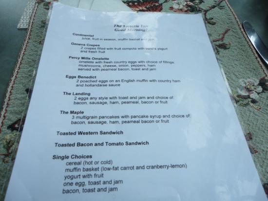 Gores Landing, Canadá: The breakfast menu