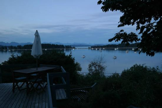 Quadra Island Harbour House B&B: evening light, view from breakfast patio over rebecca spit