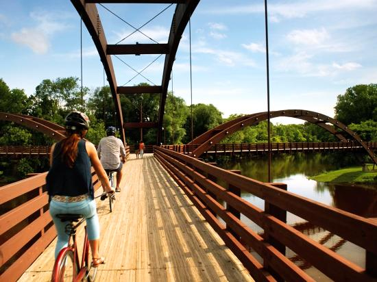 Biking Midland's Famous 3-Legged Footbridge, The Tridge