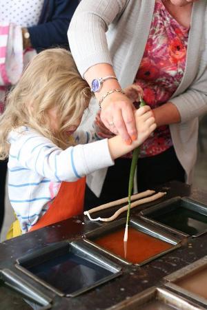 Higher Burwardsley, UK: preparing to make a candle