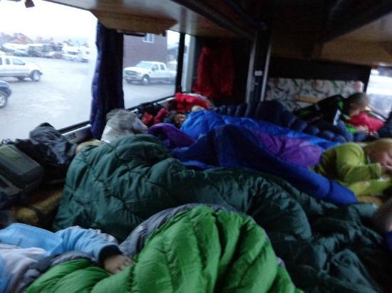 Green Tortoise Adventure Travel: sleeping arrangements..rear of bus