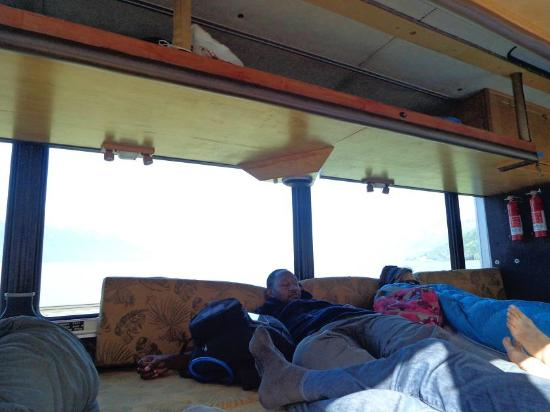 Green Tortoise Adventure Travel: rear of the bus where one can stretch out and nap