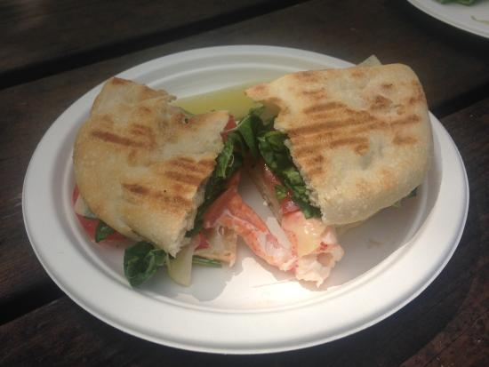 Good Life Market: Lobster on flatbread.