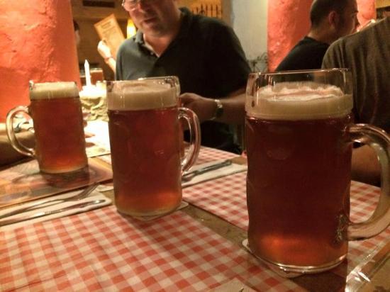 large steins of beer