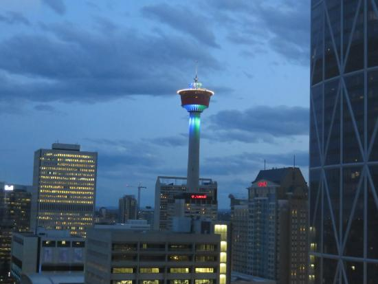 Delta Hotels By Marriott Calgary Downtown Tower At Night From Our Hotel Window