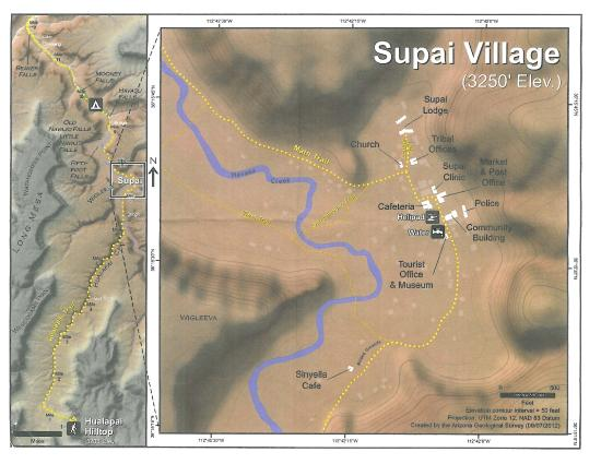 Supai Arizona Map.Trail Map Picture Of Havasu Falls Supai Tripadvisor