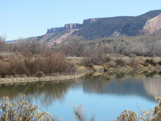Grand Junction, CO: Cliffs of Colorado National Monument from Robb State Park Fruita
