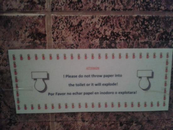 Full Moon Lodge: sign in the washroom