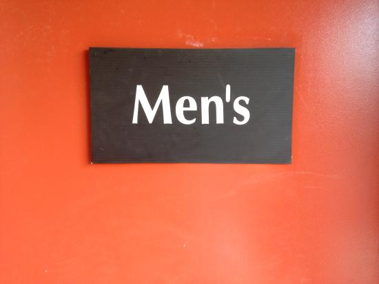 Sterling, Μίσιγκαν: Temporary sign on the bathroom for Men.