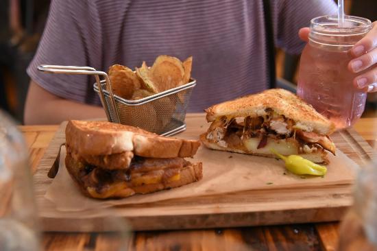 Treylor Park: Grilled Apple Pie sandwich with chicken