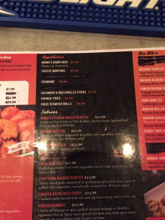 MoMo Chicken and Jazz: Menu