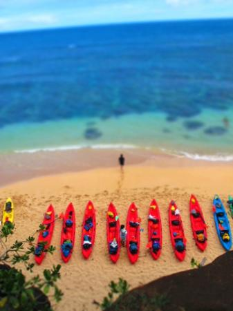 Pali Ke Kua Beach (Hideaway s Beach): Kayaks on Hideaways Beach, North Shore, Kauai
