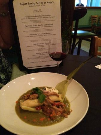 Augie's Front Burner : Tamale with wine and menu