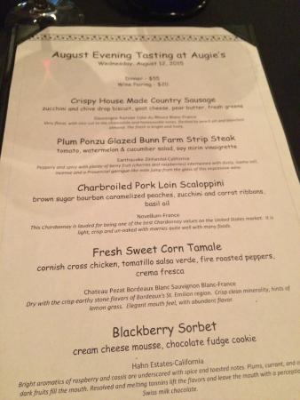 Augie's Front Burner : Wine dinner menu