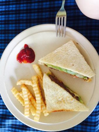 Boatman Restaurant : Menu options and the sandwich I bought. Good sandwich but small portion size
