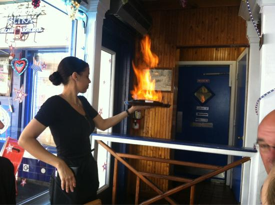 Mama's Greek Cuisine: Flaming cheese is so good with their bread!!