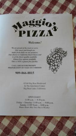 Maggio's Pizza : Menu
