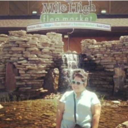 Mile High Flea Market: Waterfall in the front of flea market. Thats me!