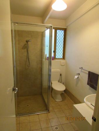 Toilet with shower, WC, and hot water