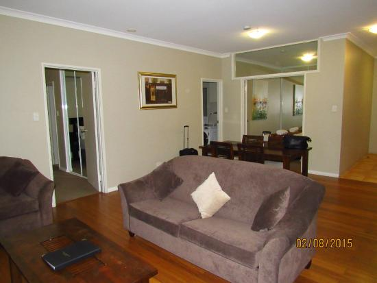 Mont Clare Boutique Apartments: Living Hall with 3 + 2 seater sofa