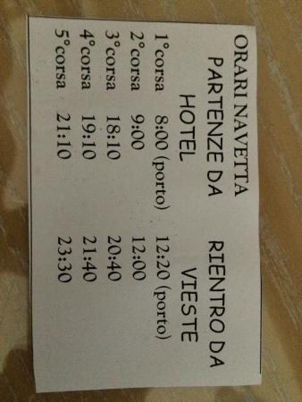 Hotel Gargano: Biglietto con orari navetta