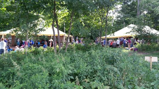 Barnard, VT: Tents and open air stage at Feast and Field Market
