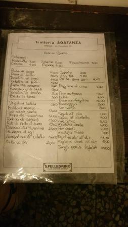 Trattoria Sostanza: The menu