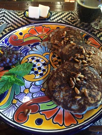 Antigua Inn: Blue corn pinon pancakes with toasted pinons (pine nuts) on top - so good we requested them twic