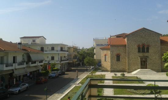 Hotel Inomaos : View from the balcony, looking in the direction of the ruins