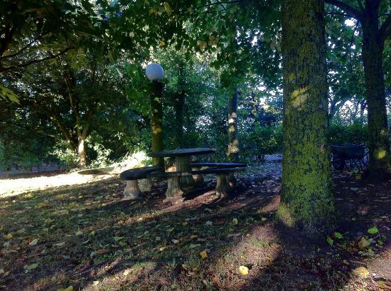 Arzens, Франция: Banc dans le jardin