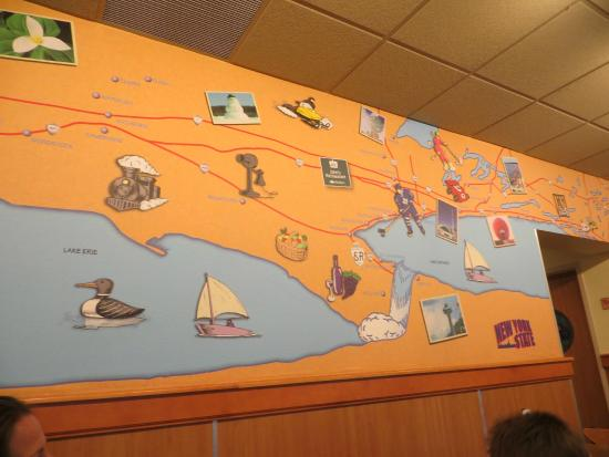 John's Restaurant: Iconic map on back wall - you know you've arrived!