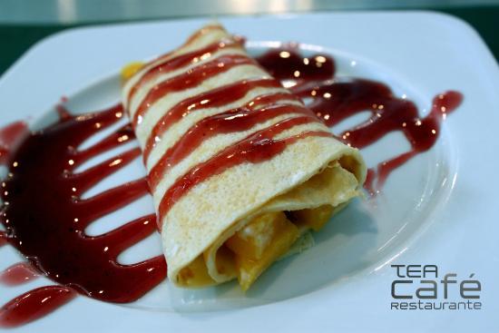 Cafetería Tea: Crep de melocotón con sirope de fresa