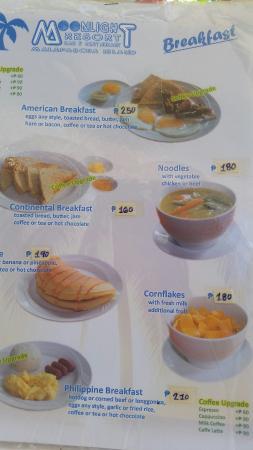 Moonlight Resort: Food menu