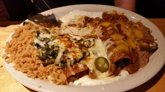 Banditos Tex Mex Caantina: Good portions, but not great quality. Queso, enchiladas, and chicken Margherita.