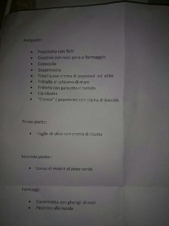 Hotel Picchio Nero: Menù di cena