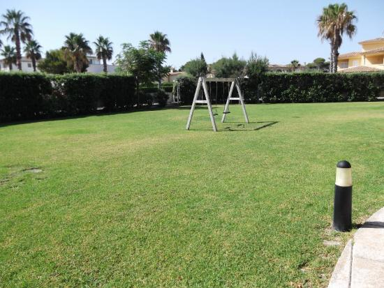 Grassed area next to the pool