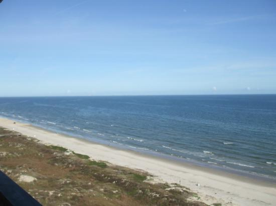 Looking up the beach from the balcony of Mustang Towers 1204